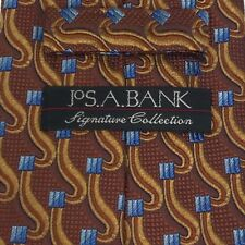 Jos. A. Bank Signature Collection Brown Blue Squares Elegant Office Tie Necktie