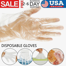 1000pcs Clear Single-Use Plastic Gloves Powder Free, Safety & Food Service