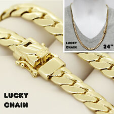 "14K GOLD FINISH MIAMI CUBAN LINK CHAIN NECKLACE 24""x8mm 65g BP7"