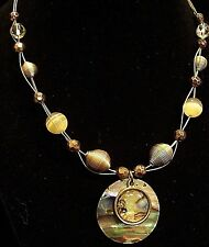 ABALONE PENDANT GOLD WIRE BEAD FASHION NECKLACE