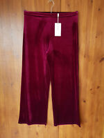 KASARA VELVET TROUSERS Wine Burgundy Red Wide Palazzo Leg S / UK 8-10 - NEW
