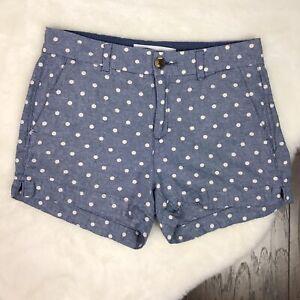 Old Navy Size 2 Everyday Short Linen Polka Dot Blue White