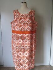 Jessica London Orange Print Linen Blend Sleeveless Knee-Length Dress NWOT SZ: 22