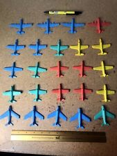Lot of 24 1960's Vintage Plastic Toy Airplanes Jets Usaf Red Yellow Blue Green