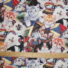 Cotton Fabric DIGITAL print  Adorable COZY KITTENS Cats & Quilts    BTY