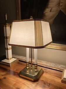 Vintage Brass Bouillotte Table Lamp With Shade