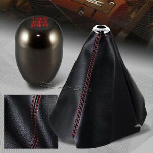Red Stitch Leather Manual Shift Boot + Gunmetal 5-Speed Shifter Knob Universal 1