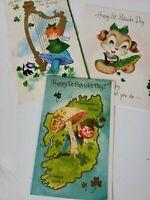 Lot of 3 Vintage St. Patricks Day Greeting cards Glitter 1960s Crafts