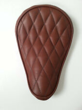 Solo Seat Bates Style Full Leather Diamond Stitch Brown Harley Bobber Chopper