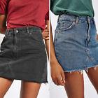 Women Denim High Waisted Bodycon Pencil Ripped Frayed Mini Skirt Jeans Skirt NEW