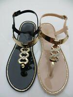 "Jelly Sandal ""BERN"" Women's Flat Thong Slingback T-Strap Chain decor - Ann More"