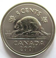 2001P CANADA 5 CENTS SPECIMEN NICKEL COIN