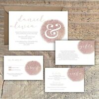 Personalised ROSE GOLD print effect wedding invitations packs of 10
