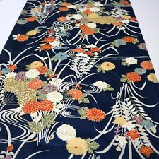 "Vintage Kimono Fabric Synthetic Navy Blue Flower Art 162cm 63.7"" inches Q36"