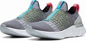 Nike React Phantom Run Flyknit 2 Grey Flash Crimson Blue Crater Running Shoe NEW
