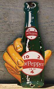 VINTAGE 1953 DR PEPPER 10-2-4 PORCELAIN BOTTLE IN HAND BEVERAGE ADVERTISING SIGN