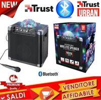 ALTOPARLANTE TRUST WIRELESS BLUETOOTH 50W CON LUCI DA FESTA E MICROFONO LED DJ