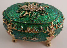 European Inspired Green Egg Trunk Qifu Collectible Hinged Trinket Box