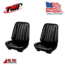 1966 Chevelle Coupe Front / Rear Seat Upholstery  Black Vinyl IN STOCK! by TMI