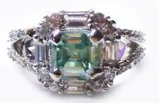 2.82 ct VVS1/ Emerald Blue Moissanite Diamond & White Baguette .925 silver Ring