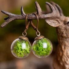 Real moss handmade earrings, glass vial earrings, nature green moss earrings
