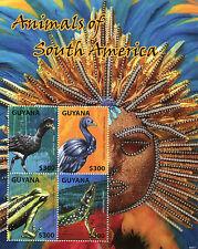 Guyana 2014 MNH Animals of South America 4v M/S I Birds Lizards Frogs Powis