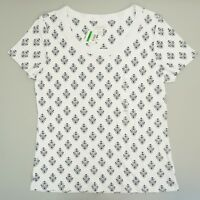 Charter Club Womens Top Scoop Neck Short Sleeve Tee T Shirt Printed White L