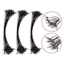 50x 11.8inch Fishing Leaders Wire Rigs Black Stainless Steel Fishing Line Leader