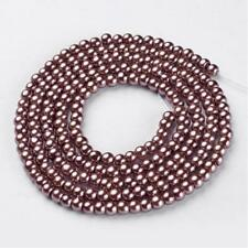 1 Strand 4mm Metallic Brown Pearl Glass Pearls 216 Beads