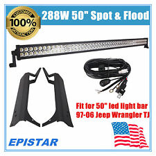 50Inch 288W LED Work Light Bar + Wiring+Upper Bracket Fit Jeep Wrangler TJ 97-06