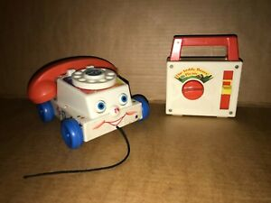 Vintage Fisher Price Wind Up Musical Toy Teddy Bears Picnic 1979 + Chatter Phone