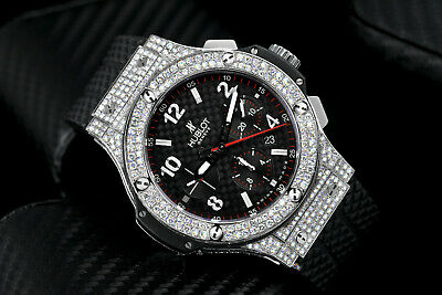 Hublot Big Bang Diamond Watch Black Dial on Rubber Strap Watch 301.SX.130.RX