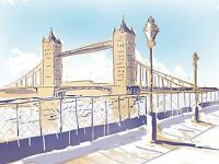 ART PRINT POSTER PAINTING DRAWING SKETCH LANDMARK TOWER BRIDGE LONDON LFMP1109