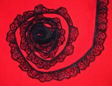 BLACK~1 1/4 Inch Wide Ruffled Candlewick Lace Trim~By 5 Yards