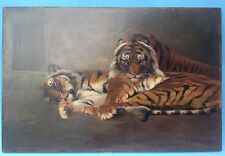 Impressionism Oil Painting robbery Cat Tiger F Eulenburg Berlin KUHNERT Colony ~ 05