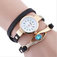 Fashion Women Quartz Stainless Steel Crystal Diamond Bracelet Wrist Watch black
