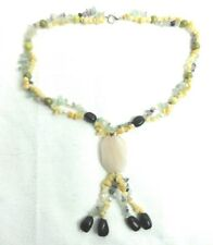 "Necklace 22"" with 4 1/2"" Womans Pendent Stones Glass Pearls Onyx Jewelry"