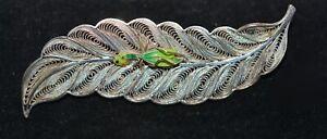 Vintage Portuguese Portugal Pin Brooch Filigree & Enamel Grasshopper on Leaf