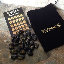 Rune Stones - Black Agate Crystal Divination Runes with Pouch & Symbol Sheet