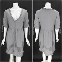 Womens Odd Molly 598 Grey Dress Cotton Rayon Blend V-Neck Size 2 / M / UK12