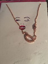 Betsey Johnson Be Your Own Kind Of Beautiful Crystal Lips Rose Goldtone Necklace