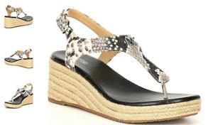 Michael Kors Laney Snake Leather Espadrille Thong Wedge Women's sizes 5-11/NEW