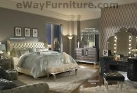 AICO Hollywood Swank Creamy Pearl Queen Leather Bed 4PC Set Bedroom Furniture