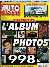 A22- Auto Hebdo N°1163 Formule 1 Album photo 1998,Peugeot 206 WRC