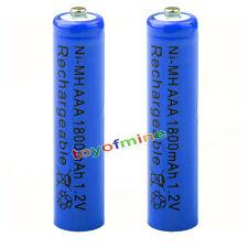 2x AAA 1800mAh pile 1.2V Ni-MH rechargeable batterie 3A bleu pour MP3 Jouet RC