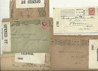 # 1917/18  5 x DIFF OPENED BY CENSOR LABELS WW1 GB MAILS TO BOSTON & EVERETT USA