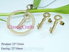 18K GP 316L Stainless steel key pendant + earrings sets