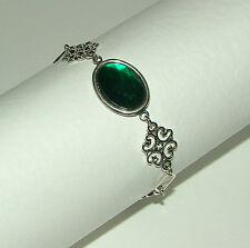 LACY FILIGREE VICTORIAN STYLE EMERALD GREEN CRYSTAL SILVER PLATED BRACELET