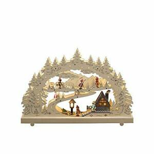 "Konstsmide Christmas Lights/LED ""Ski Village Scene"" Wooden Welcome Light"