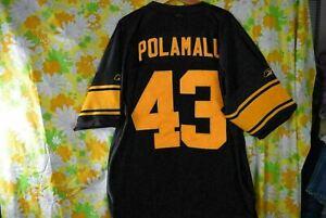 Troy Polamalu Sewn Logos Pittsburgh Steelers Jersey Size 52 Reebok